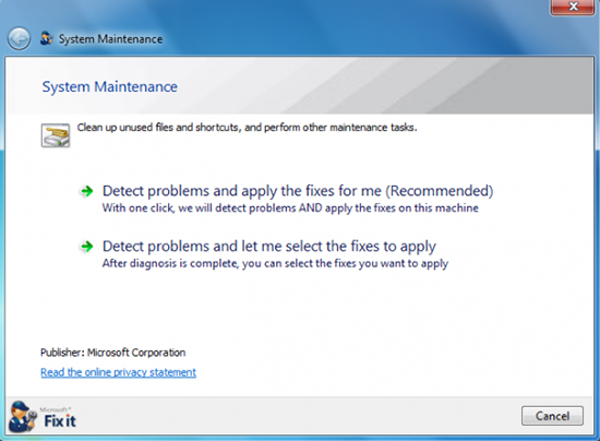 Microsoft System Maintenance Troubleshooter