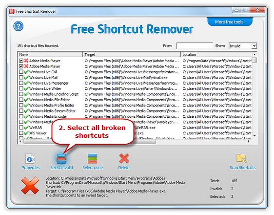 List shortcuts