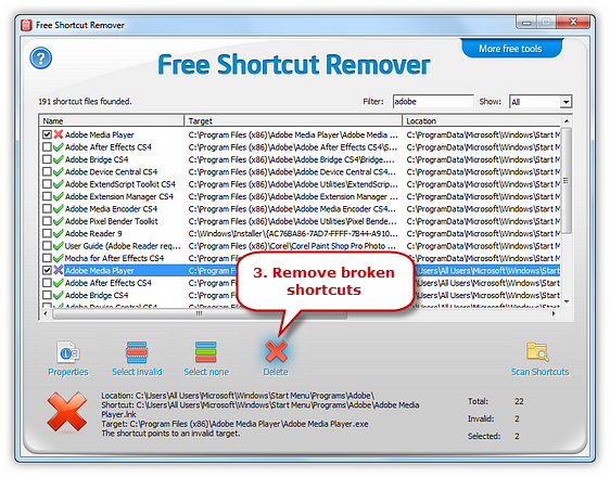 Remove the Broken Shortcuts