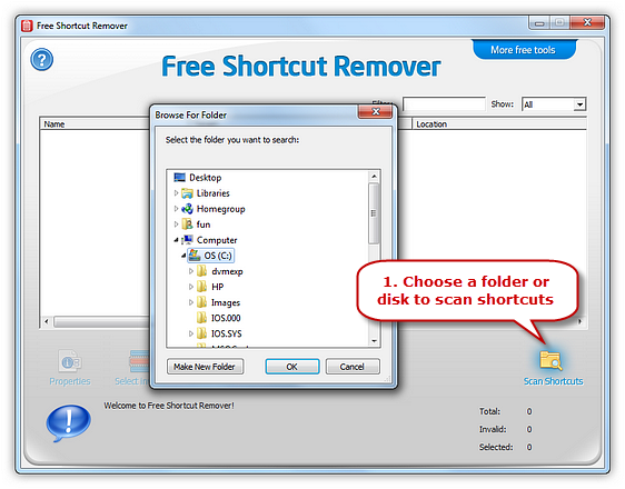 Scan and Select the Invalid Shortcuts