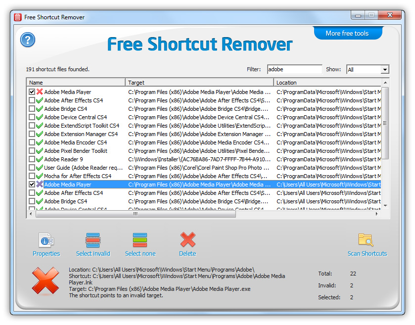 Free shortcut remover software.